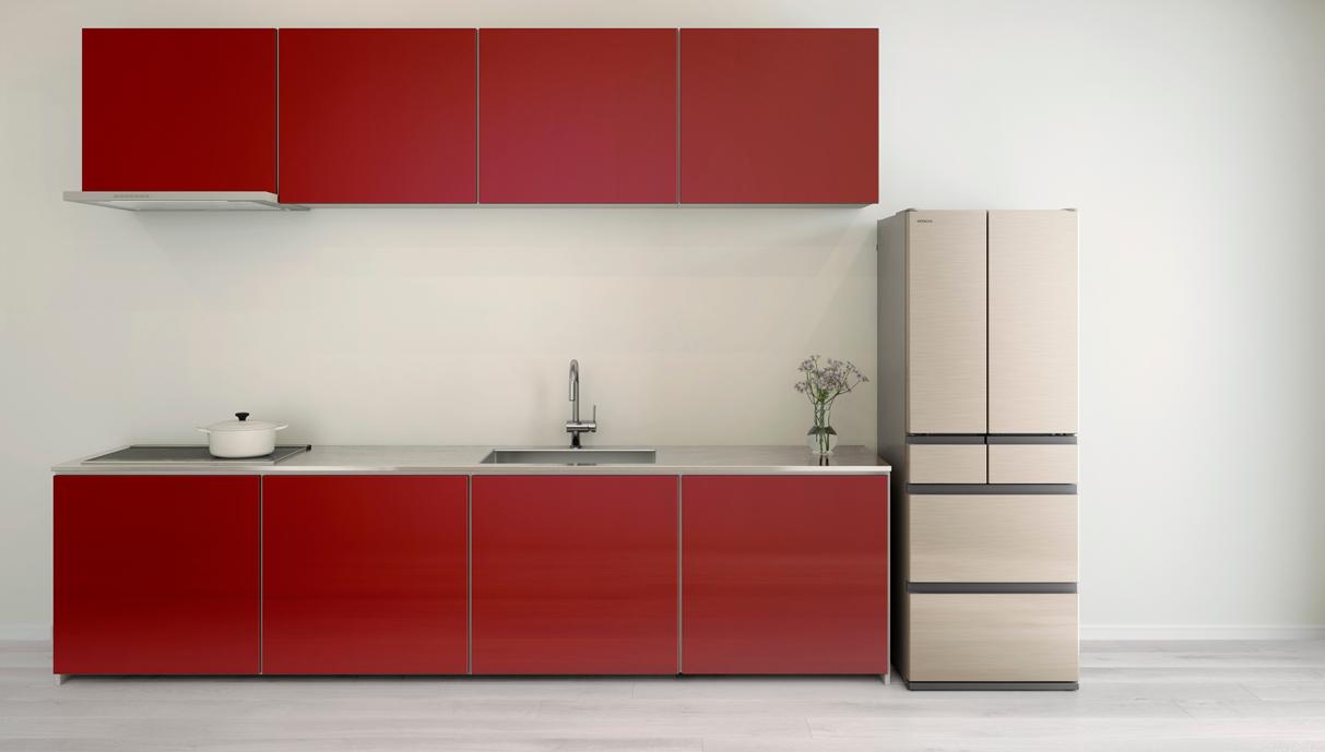 Thiết kế của tủ với màu đỏ